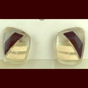 VINTAGE Earrings Clear Lucite w/Black&White Strip